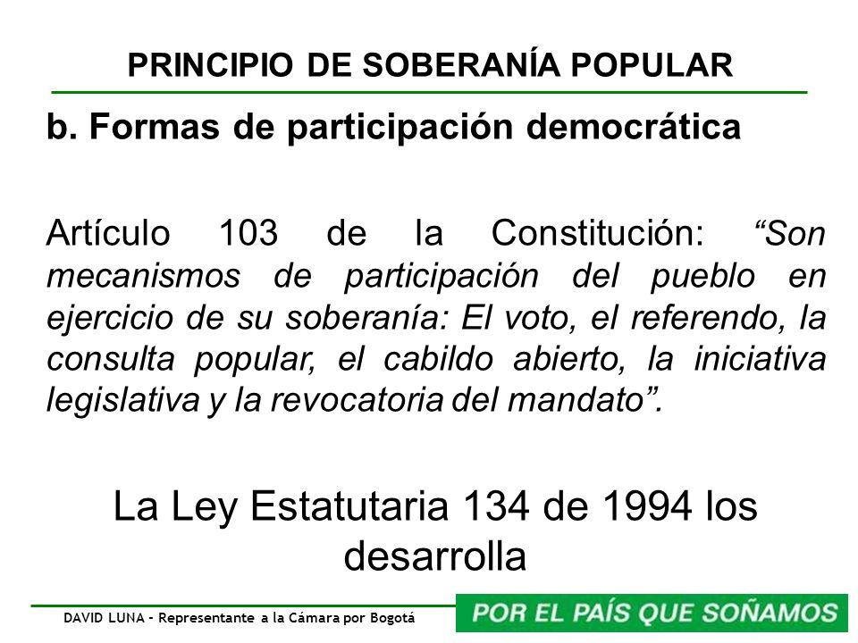 PRINCIPIO DE SOBERANÍA POPULAR b. Formas de participación democrática Artículo 103 de la Constitución: Son mecanismos de participación del pueblo en e