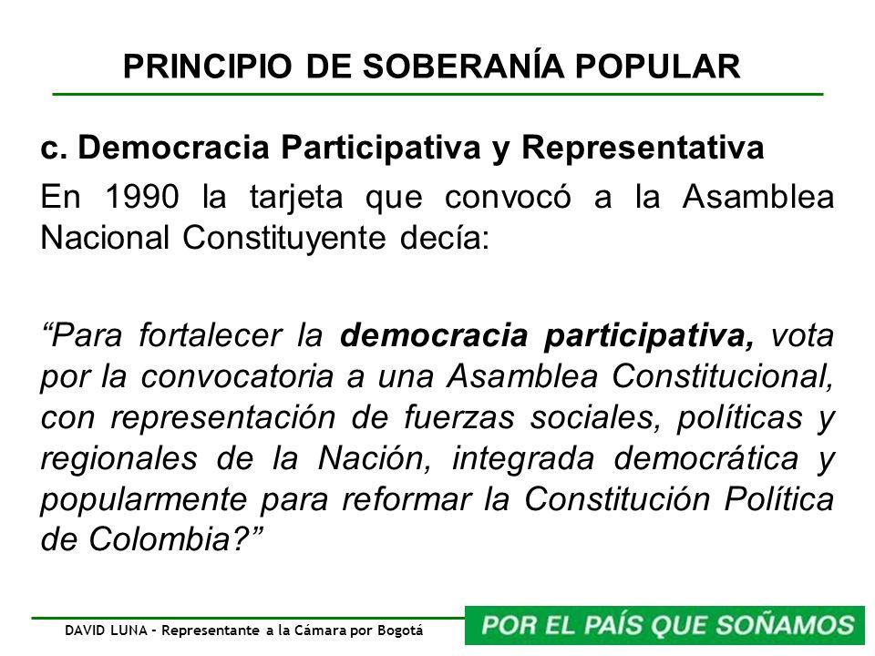 PRINCIPIO DE SOBERANÍA POPULAR c. Democracia Participativa y Representativa En 1990 la tarjeta que convocó a la Asamblea Nacional Constituyente decía: