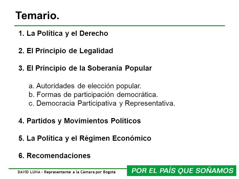 Temario. DAVID LUNA - Representante a la Cámara por Bogotá 1. La Política y el Derecho 2. El Principio de Legalidad 3. El Principio de la Soberanía Po