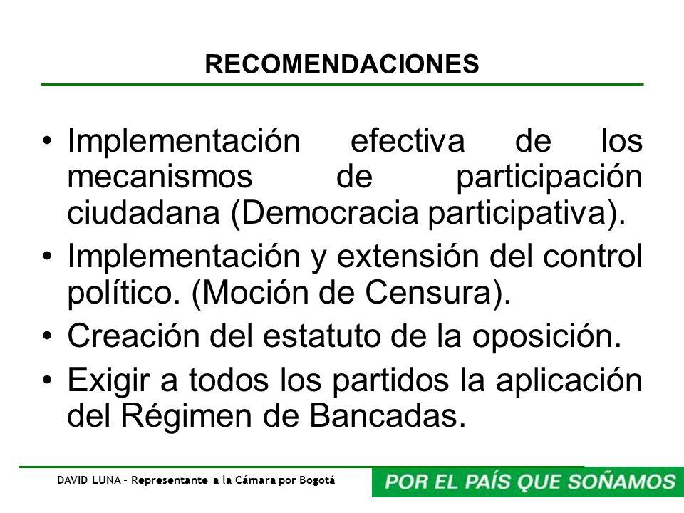 RECOMENDACIONES Implementación efectiva de los mecanismos de participación ciudadana (Democracia participativa). Implementación y extensión del contro