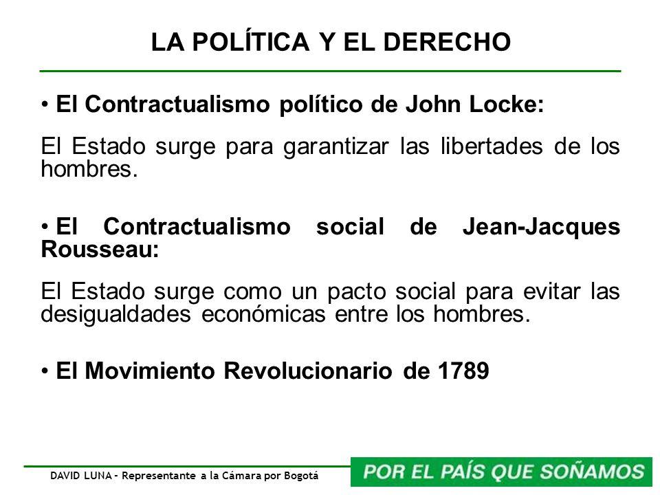 LA POLÍTICA Y EL DERECHO El Contractualismo político de John Locke: El Estado surge para garantizar las libertades de los hombres. El Contractualismo