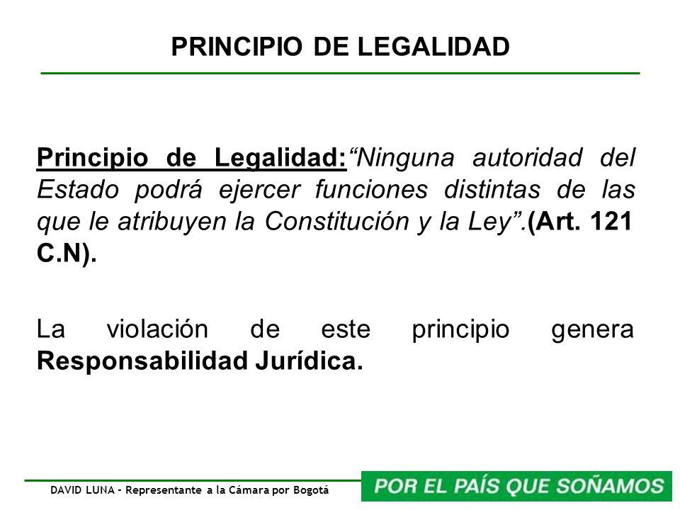 Principio de Legalidad:Ninguna autoridad del Estado podrá ejercer funciones distintas de las que le atribuyen la Constitución y la Ley.(Art. 121 C.N).