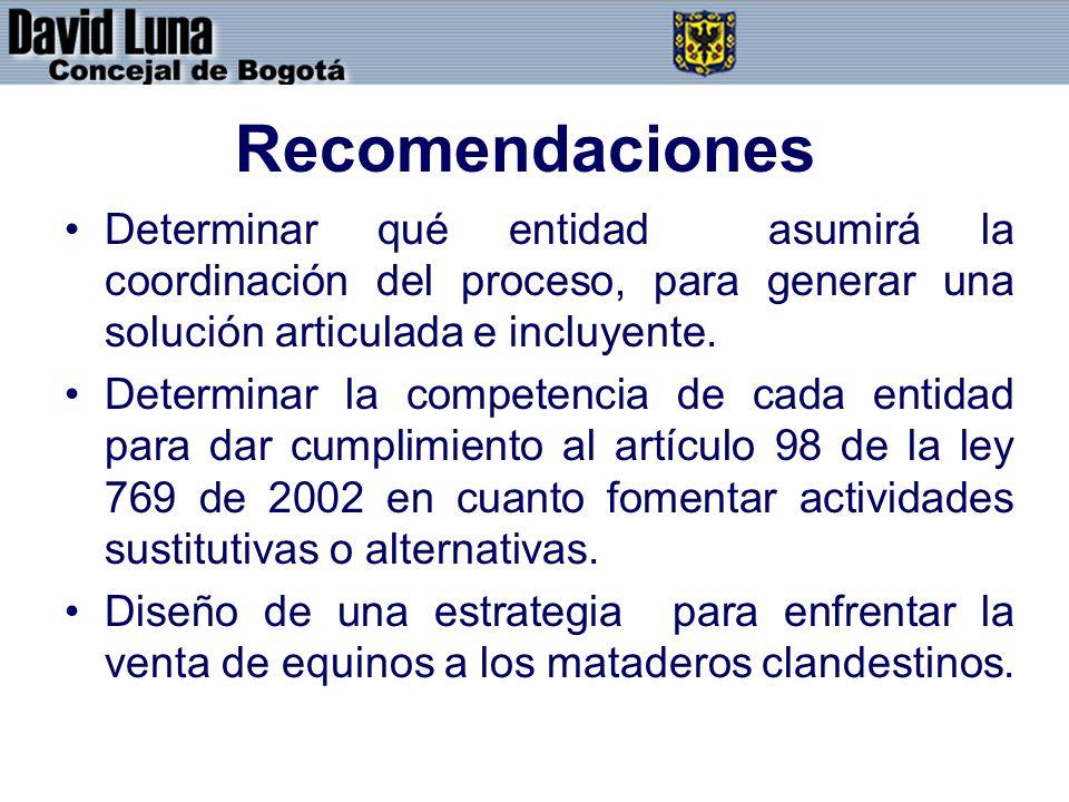 Recomendaciones Determinar qué entidad asumirá la coordinación del proceso, para generar una solución articulada e incluyente. Determinar la competenc