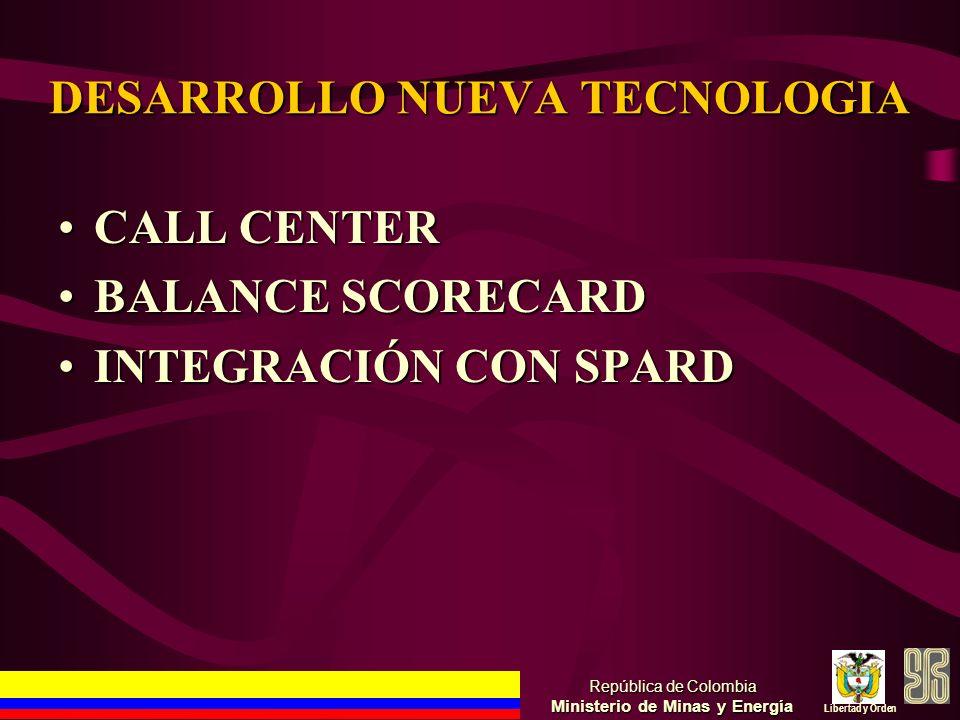 DESARROLLO NUEVA TECNOLOGIA CALL CENTERCALL CENTER BALANCE SCORECARDBALANCE SCORECARD INTEGRACIÓN CON SPARDINTEGRACIÓN CON SPARD República de Colombia