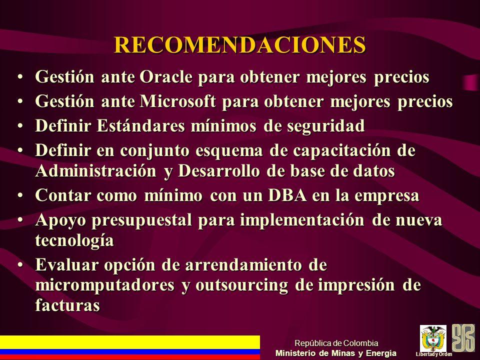 RECOMENDACIONES Gestión ante Oracle para obtener mejores preciosGestión ante Oracle para obtener mejores precios Gestión ante Microsoft para obtener m