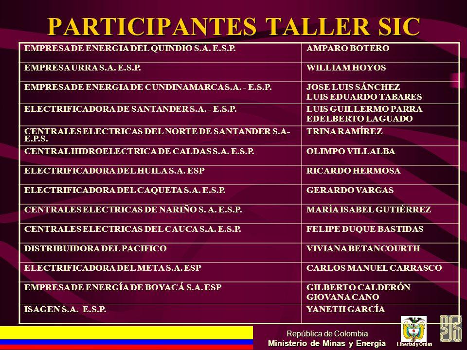 PARTICIPANTES TALLER SIC República de Colombia Ministerio de Minas y Energía Libertad y Orden EMPRESA DE ENERGIA DEL QUINDIO S.A. E.S.P.AMPARO BOTERO