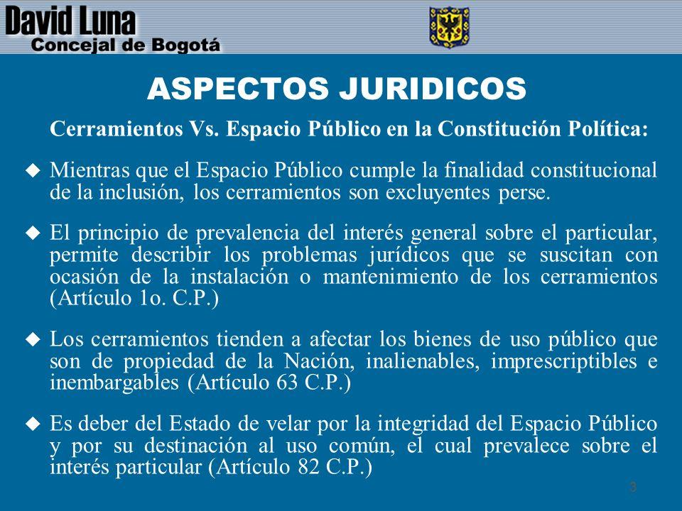 4 ASPECTOS JURIDICOS El Espacio Público en la Constitución: u Tiene una protección expresa.