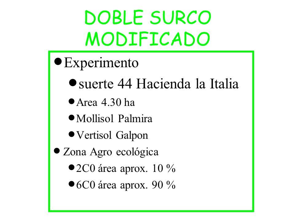 DOBLE SURCO MODIFICADO Experimento suerte 44 Hacienda la Italia Area 4.30 ha Mollisol Palmira Vertisol Galpon Zona Agro ecológica 2C0 área aprox. 10 %
