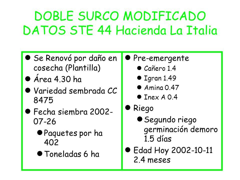 DOBLE SURCO MODIFICADO DATOS STE 44 Hacienda La Italia Se Renovó por daño en cosecha (Plantilla) Área 4.30 ha Variedad sembrada CC 8475 Fecha siembra