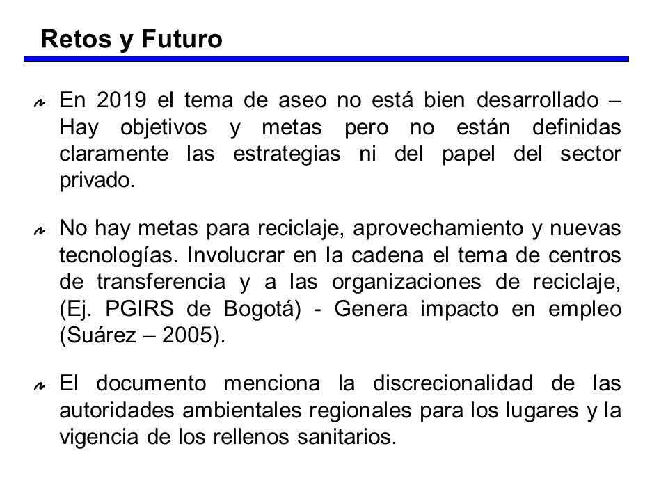 En 2019 el tema de aseo no está bien desarrollado – Hay objetivos y metas pero no están definidas claramente las estrategias ni del papel del sector p