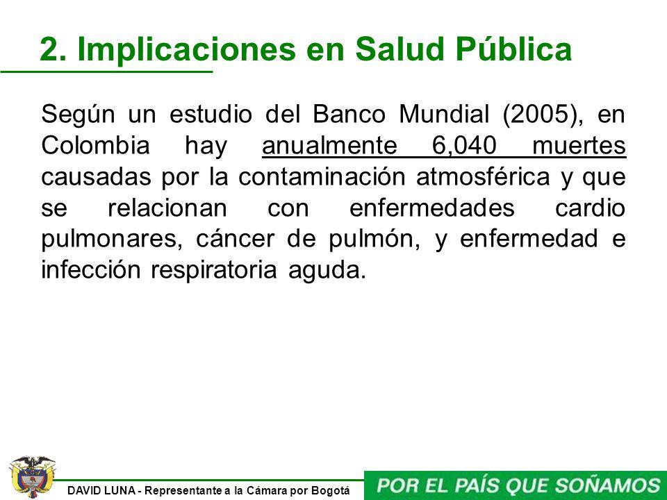 DAVID LUNA - Representante a la Cámara por Bogotá Según un estudio del Banco Mundial (2005), en Colombia hay anualmente 6,040 muertes causadas por la
