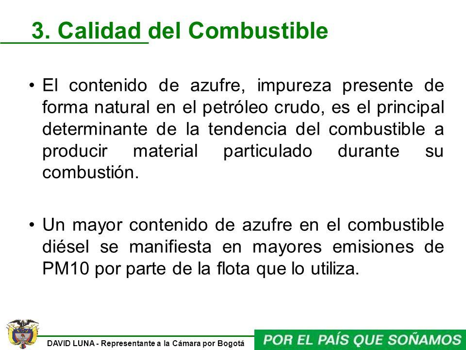 DAVID LUNA - Representante a la Cámara por Bogotá 3. Calidad del Combustible El contenido de azufre, impureza presente de forma natural en el petróleo