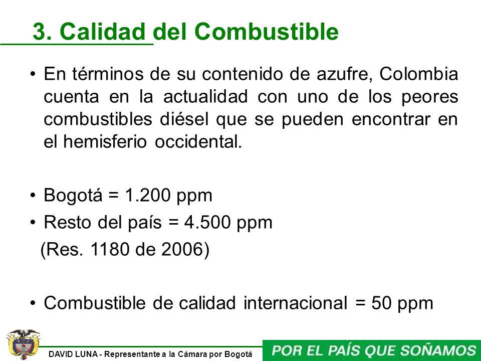 DAVID LUNA - Representante a la Cámara por Bogotá 3. Calidad del Combustible En términos de su contenido de azufre, Colombia cuenta en la actualidad c
