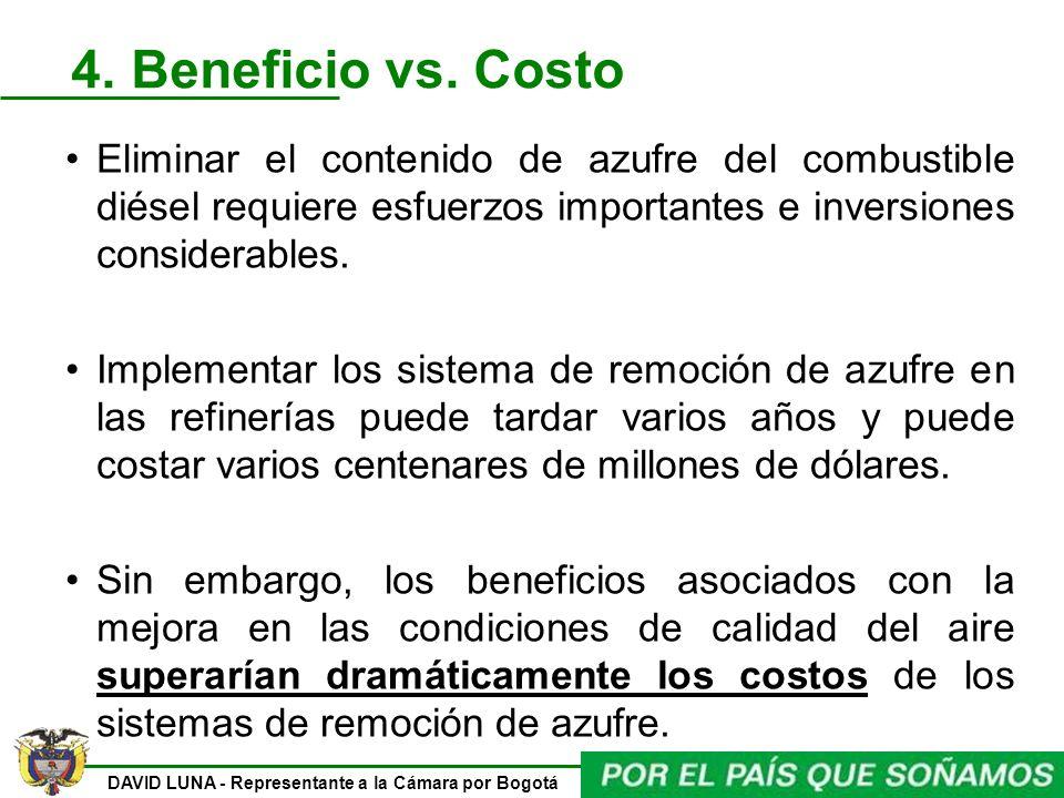 DAVID LUNA - Representante a la Cámara por Bogotá 4. Beneficio vs. Costo Eliminar el contenido de azufre del combustible diésel requiere esfuerzos imp