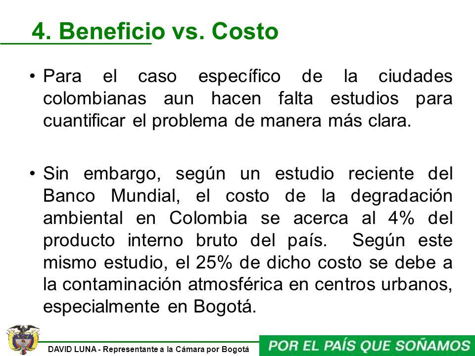DAVID LUNA - Representante a la Cámara por Bogotá 4. Beneficio vs. Costo Para el caso específico de la ciudades colombianas aun hacen falta estudios p