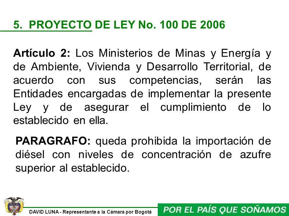 DAVID LUNA - Representante a la Cámara por Bogotá Artículo 2: Los Ministerios de Minas y Energía y de Ambiente, Vivienda y Desarrollo Territorial, de