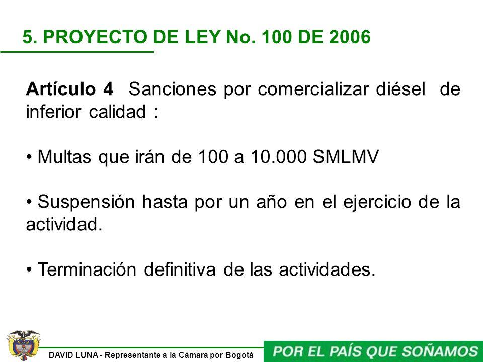 DAVID LUNA - Representante a la Cámara por Bogotá Artículo 4 Sanciones por comercializar diésel de inferior calidad : Multas que irán de 100 a 10.000
