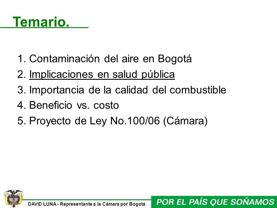 DAVID LUNA - Representante a la Cámara por Bogotá 1. Contaminación del aire en Bogotá 2. Implicaciones en salud pública 3. Importancia de la calidad d