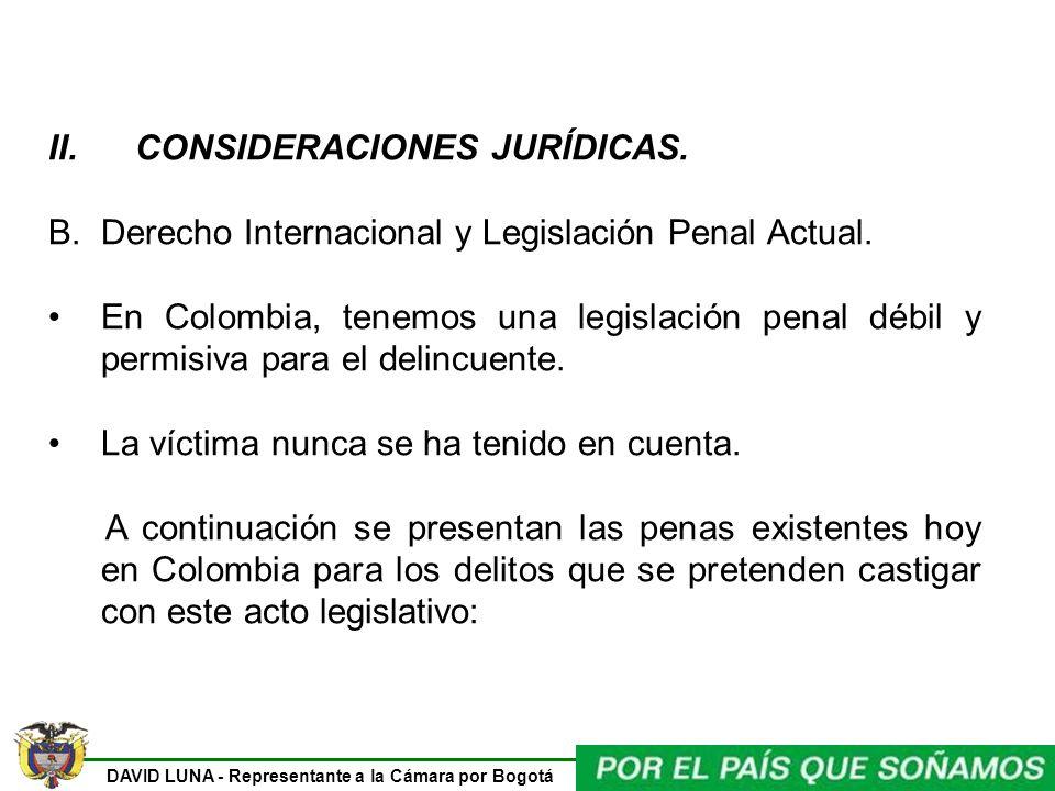 DAVID LUNA - Representante a la Cámara por Bogotá II. CONSIDERACIONES JURÍDICAS. B.Derecho Internacional y Legislación Penal Actual. En Colombia, tene