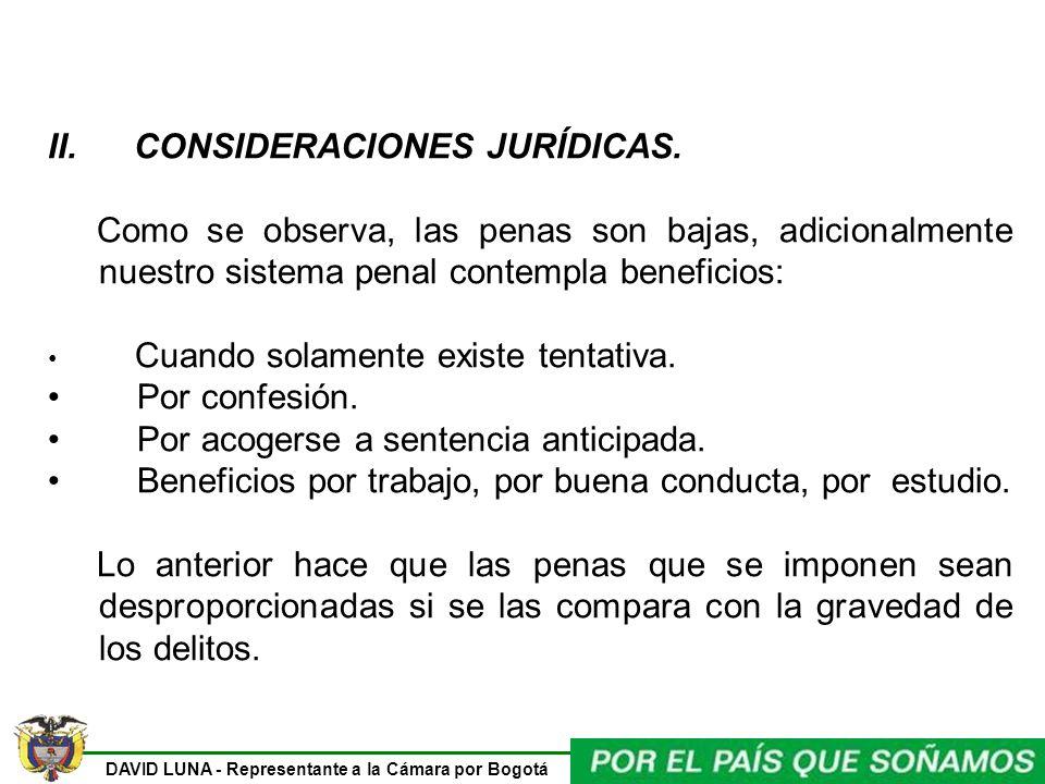 DAVID LUNA - Representante a la Cámara por Bogotá II. CONSIDERACIONES JURÍDICAS. Como se observa, las penas son bajas, adicionalmente nuestro sistema