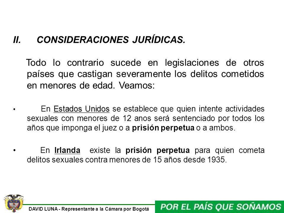 DAVID LUNA - Representante a la Cámara por Bogotá II. CONSIDERACIONES JURÍDICAS. Todo lo contrario sucede en legislaciones de otros países que castiga