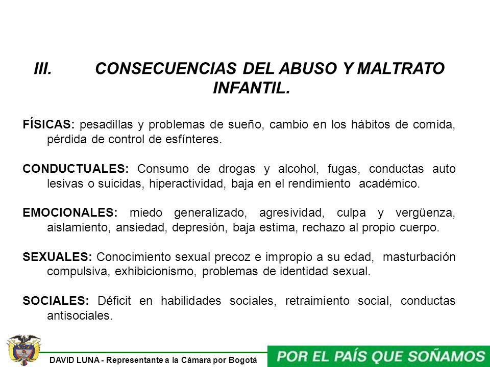 DAVID LUNA - Representante a la Cámara por Bogotá III. CONSECUENCIAS DEL ABUSO Y MALTRATO INFANTIL. FÍSICAS: pesadillas y problemas de sueño, cambio e