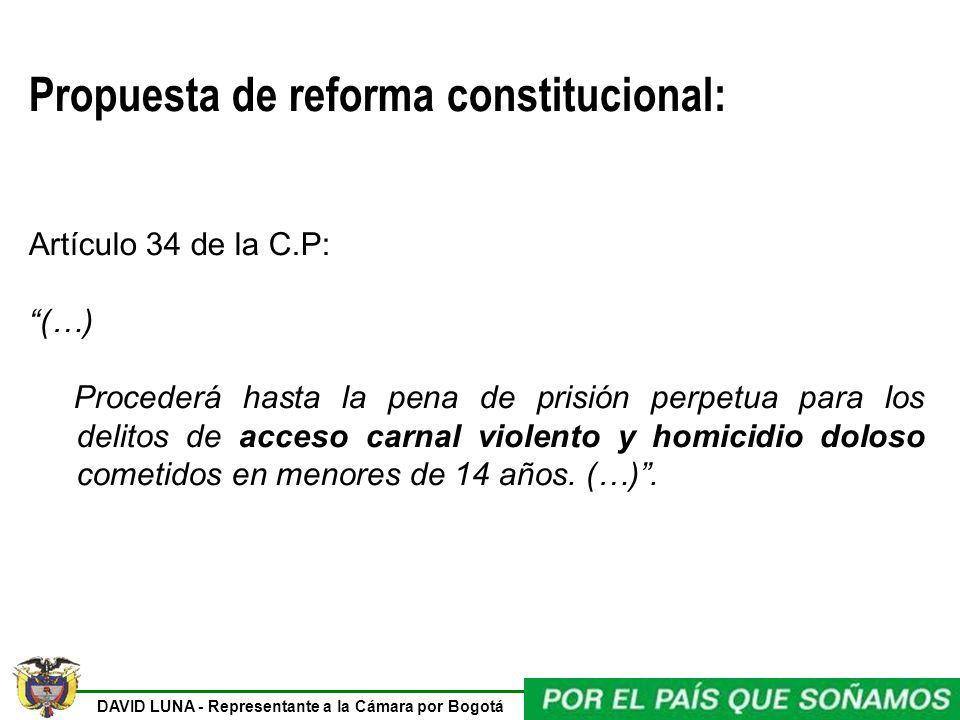 DAVID LUNA - Representante a la Cámara por Bogotá Propuesta de reforma constitucional: Artículo 34 de la C.P: (…) Procederá hasta la pena de prisión p