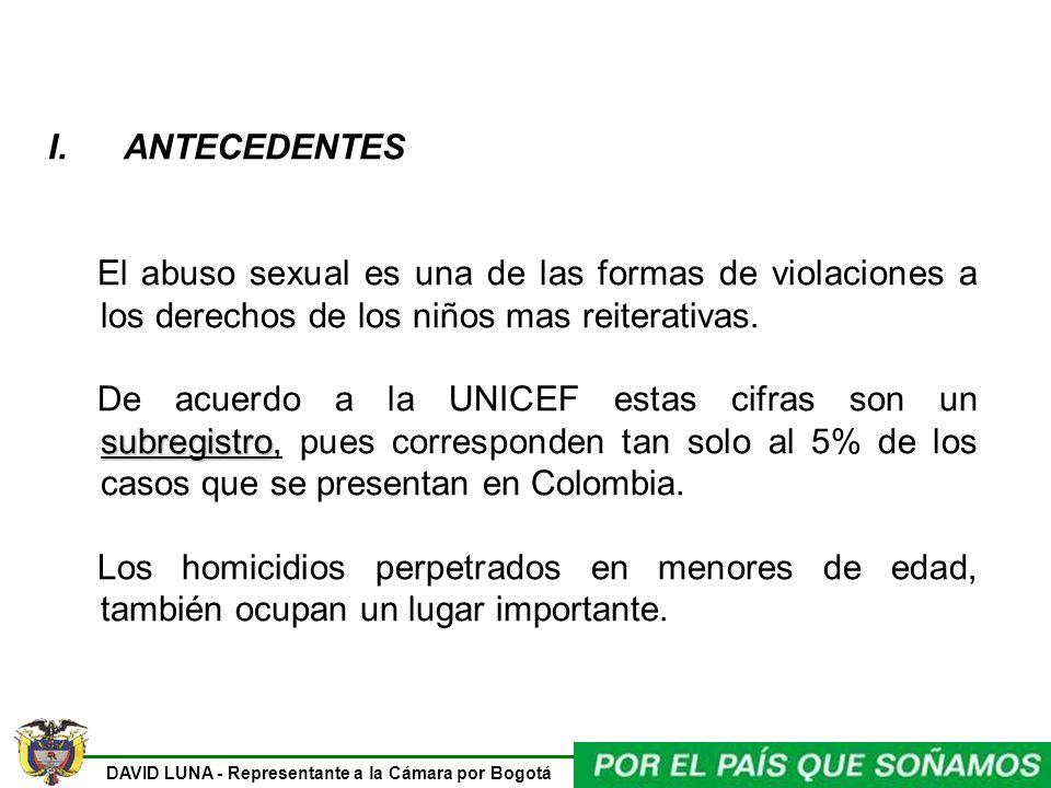 DAVID LUNA - Representante a la Cámara por Bogotá I. ANTECEDENTES El abuso sexual es una de las formas de violaciones a los derechos de los niños mas