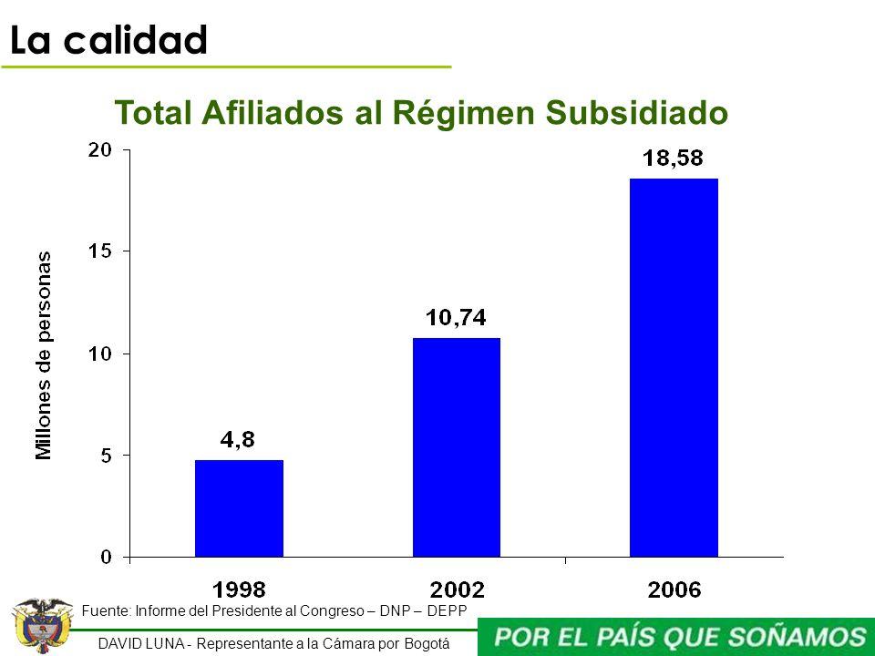 DAVID LUNA - Representante a la Cámara por Bogotá Total Afiliados al Régimen Subsidiado Fuente: Informe del Presidente al Congreso – DNP – DEPP La cal