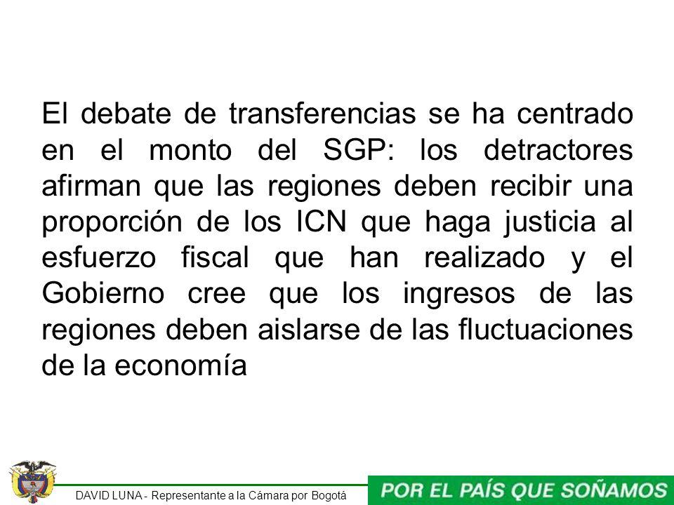 DAVID LUNA - Representante a la Cámara por Bogotá El debate de transferencias se ha centrado en el monto del SGP: los detractores afirman que las regi