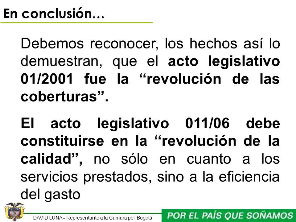 DAVID LUNA - Representante a la Cámara por Bogotá En conclusión… Debemos reconocer, los hechos así lo demuestran, que el acto legislativo 01/2001 fue