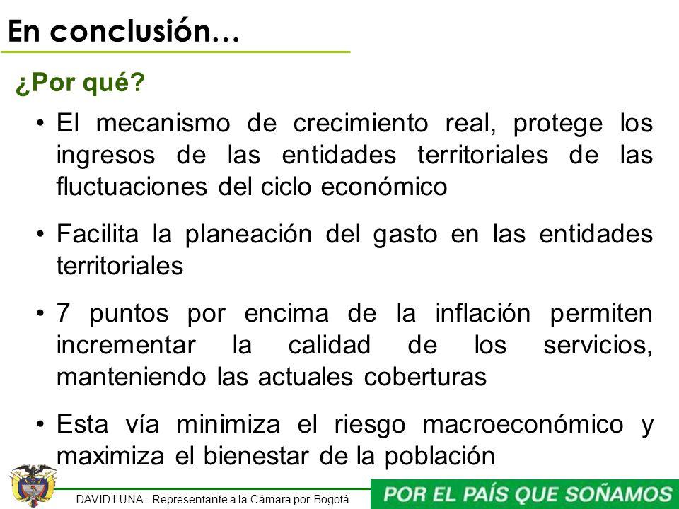 DAVID LUNA - Representante a la Cámara por Bogotá En conclusión… ¿Por qué? El mecanismo de crecimiento real, protege los ingresos de las entidades ter