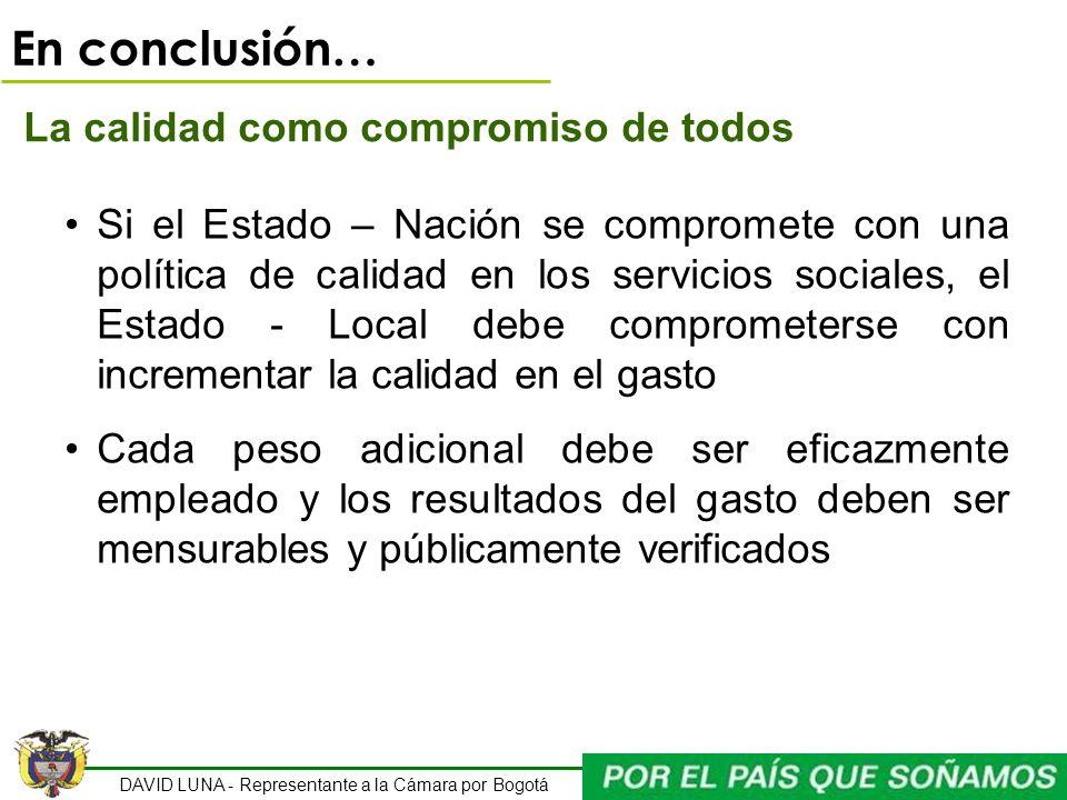 DAVID LUNA - Representante a la Cámara por Bogotá En conclusión… La calidad como compromiso de todos Si el Estado – Nación se compromete con una polít