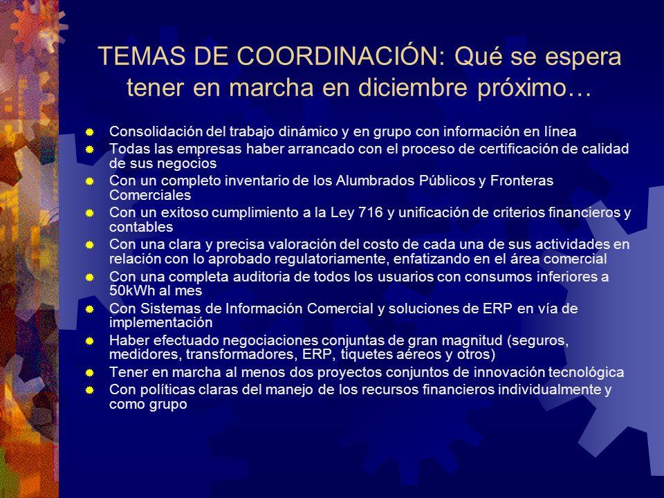 TEMAS DE COORDINACIÓN: Qué se espera tener en marcha en diciembre próximo… Consolidación del trabajo dinámico y en grupo con información en línea Toda