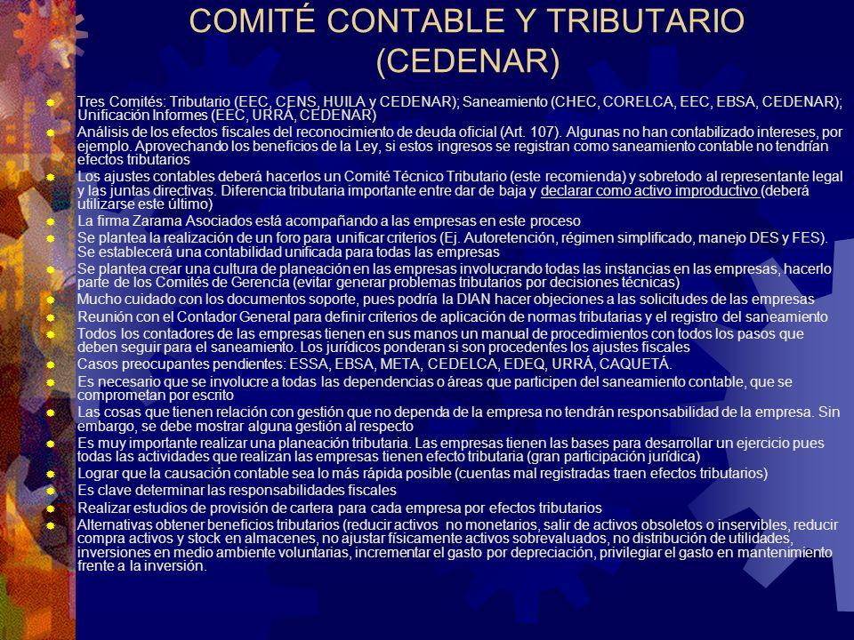 COMITÉ CONTABLE Y TRIBUTARIO (CEDENAR) Tres Comités: Tributario (EEC, CENS, HUILA y CEDENAR); Saneamiento (CHEC, CORELCA, EEC, EBSA, CEDENAR); Unifica