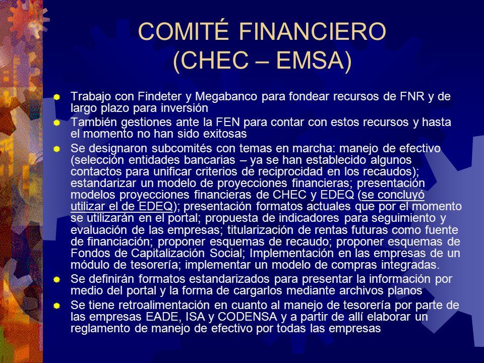 COMITÉ FINANCIERO (CHEC – EMSA) Trabajo con Findeter y Megabanco para fondear recursos de FNR y de largo plazo para inversión También gestiones ante l
