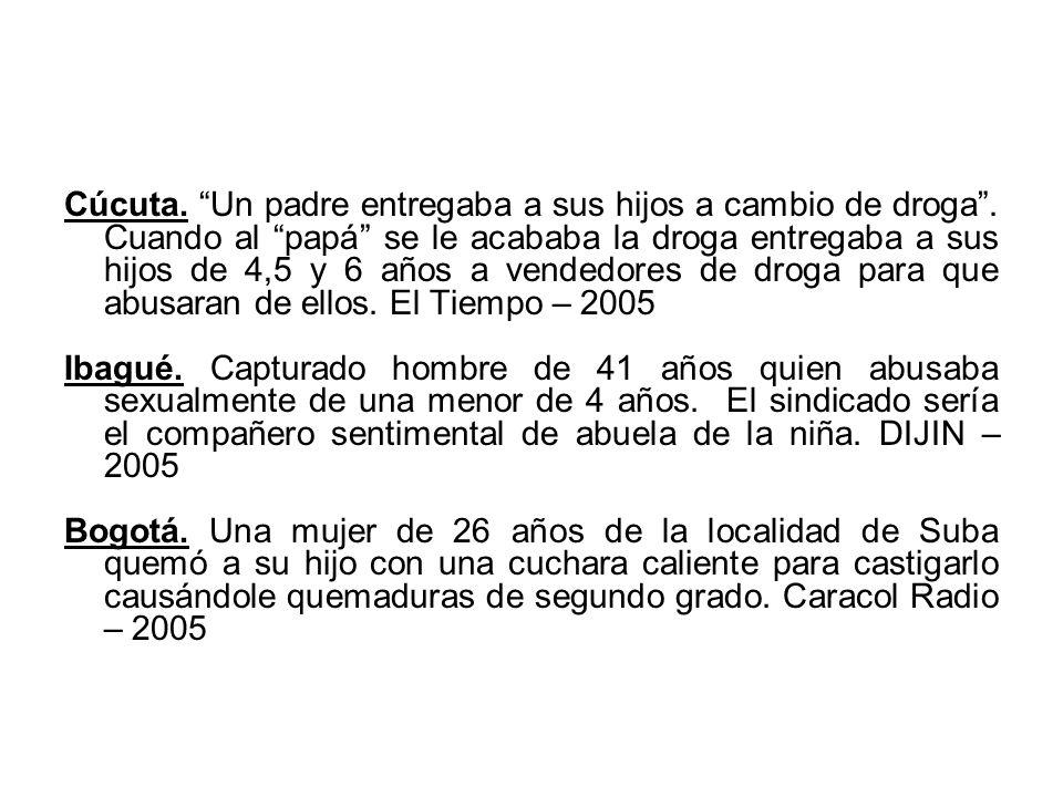 Cúcuta. Un padre entregaba a sus hijos a cambio de droga. Cuando al papá se le acababa la droga entregaba a sus hijos de 4,5 y 6 años a vendedores de