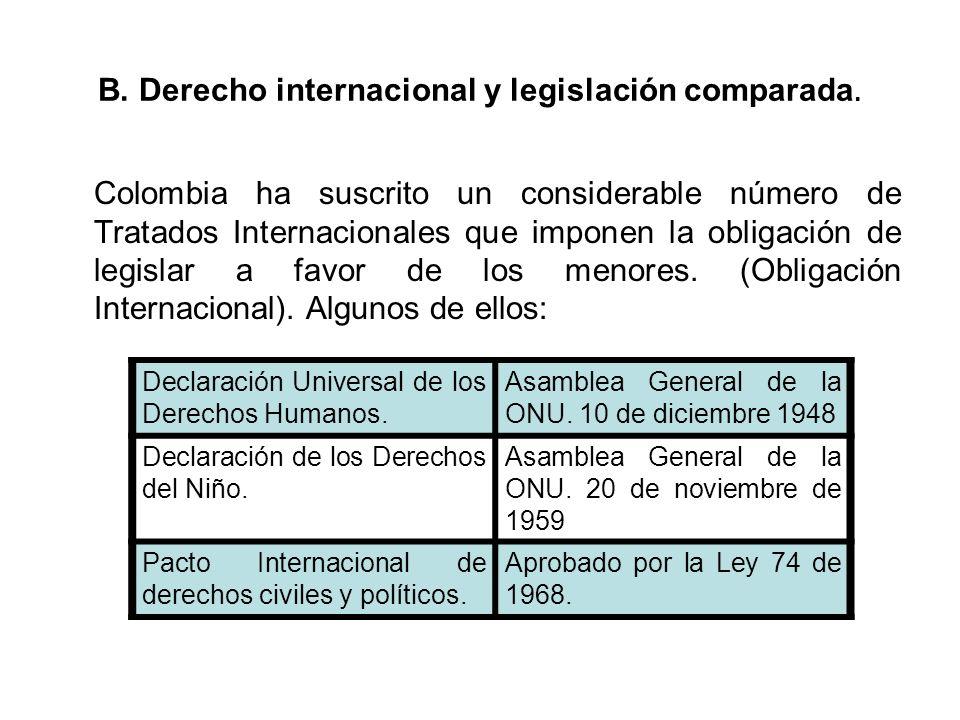 B. Derecho internacional y legislación comparada. Colombia ha suscrito un considerable número de Tratados Internacionales que imponen la obligación de