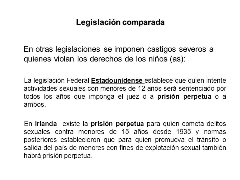 Legislación comparada En otras legislaciones se imponen castigos severos a quienes violan los derechos de los niños (as): Estadounidense La legislació