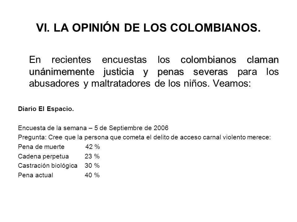 VI. LA OPINIÓN DE LOS COLOMBIANOS. colombianos claman unánimemente justicia y penasseveras En recientes encuestas los colombianos claman unánimemente