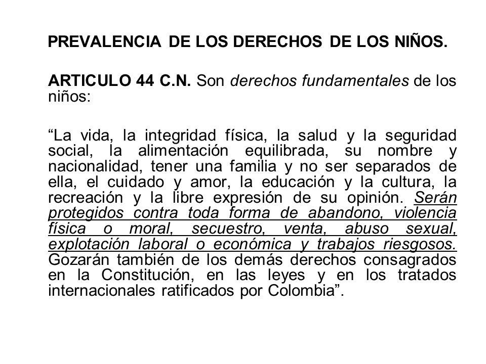 PREVALENCIA DE LOS DERECHOS DE LOS NIÑOS. ARTICULO 44 C.N. Son derechos fundamentales de los niños: La vida, la integridad física, la salud y la segur