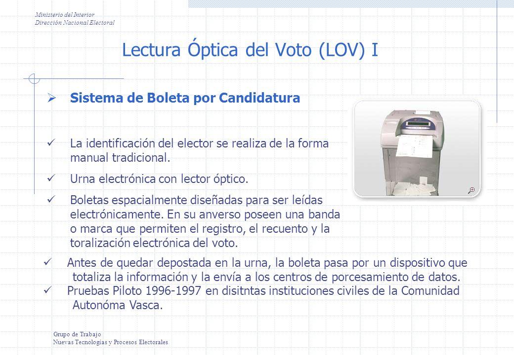Ministerio del Interior Dirección Nacional Electoral Grupo de Trabajo Nuevas Tecnologías y Procesos Electorales Sistema de Boleta múltiple y marca manual La identificación del elector se realiza de la forma manual tradicional.