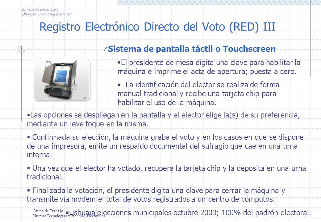 Registro Electrónico Directo del Voto IV Ministerio del Interior Dirección Nacional Electoral Grupo de Trabajo Nuevas Tecnologías y Procesos Electorales Sistema de pantalla táctil o Touchscreen con documento de identidad digital En la actualidad, existen diversas variantes del sistema de registro electrónico directo del voto.