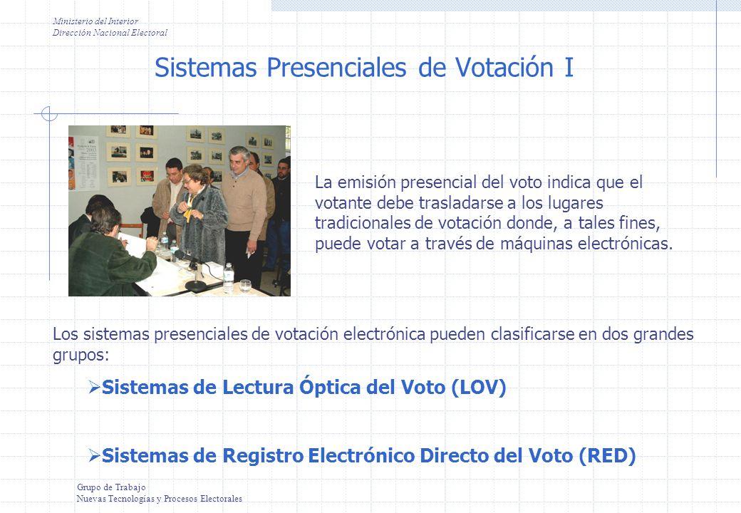 Grupo de Trabajo Nuevas Tecnologías y Procesos Electorales Ministerio del Interior Dirección Nacional Electoral Es posible distinguir los sistemas electrónicos de votación presencial en función de una variable principal: Instrumento de votación.