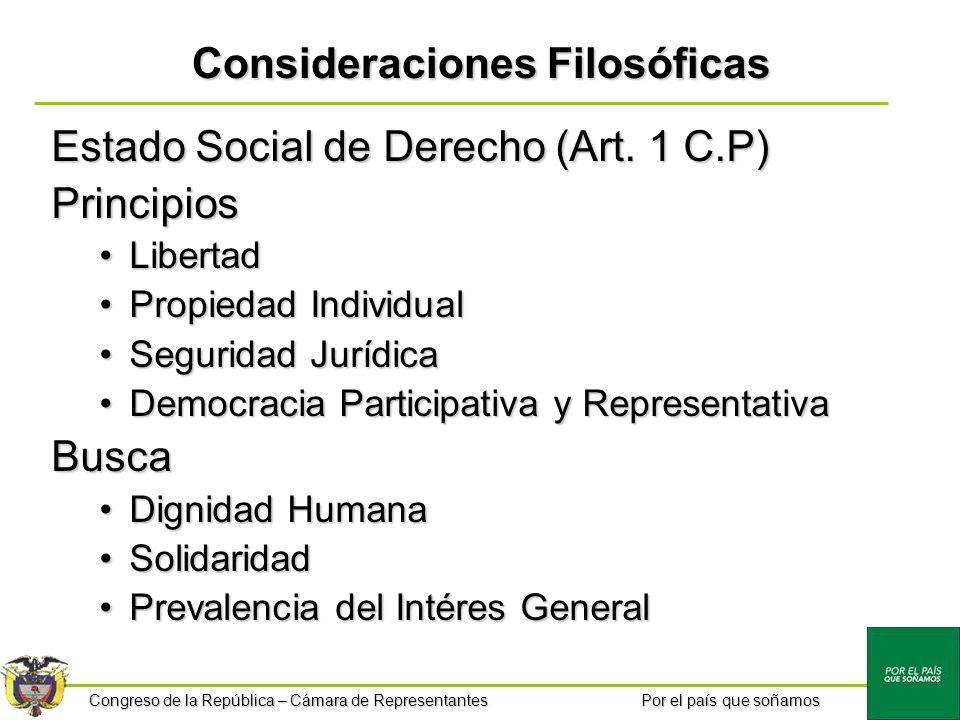 Congreso de la República – Cámara de Representantes Por el país que soñamos Consideraciones Filosóficas Estado Social de Derecho (Art. 1 C.P) Principi
