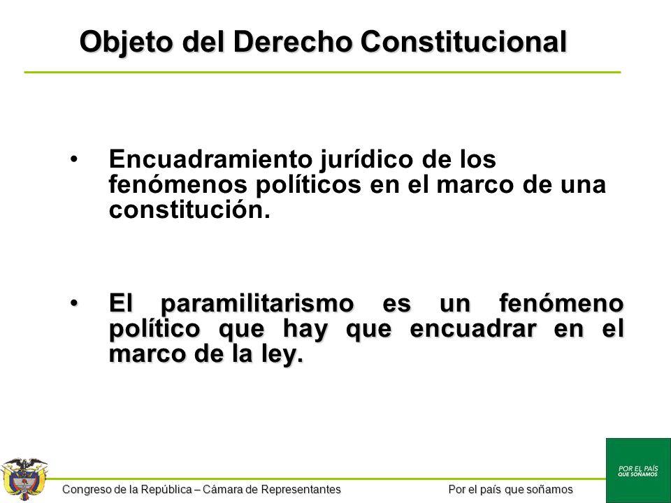 Congreso de la República – Cámara de Representantes Por el país que soñamos Objeto del Derecho Constitucional Encuadramiento jurídico de los fenómenos políticos en el marco de una constitución.