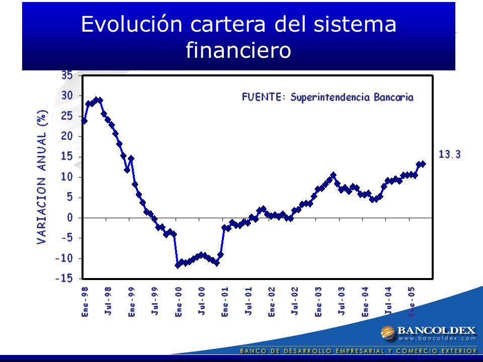 Evolución cartera del sistema financiero