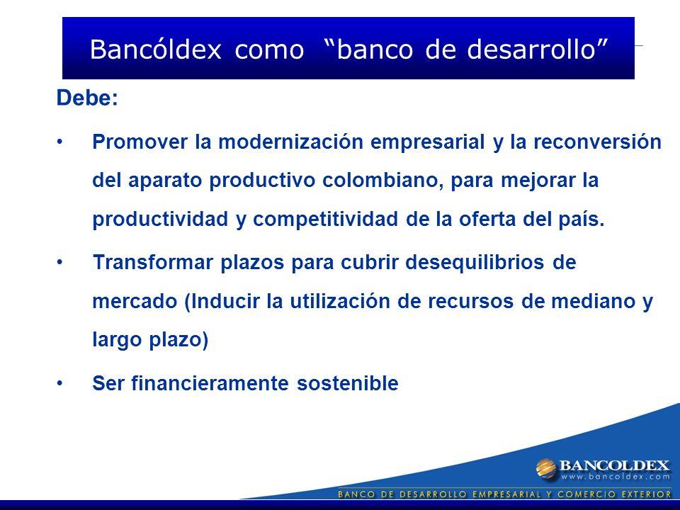 Debe: Promover la modernización empresarial y la reconversión del aparato productivo colombiano, para mejorar la productividad y competitividad de la oferta del país.