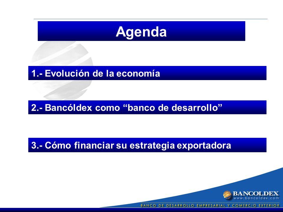 Agenda 1.- Evolución de la economía 3.- Cómo financiar su estrategia exportadora 2.- Bancóldex como banco de desarrollo