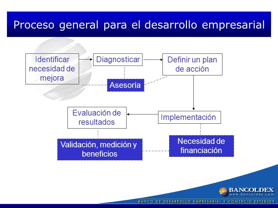 Identificar necesidad de mejora Diagnosticar Definir un plan de acción Implementación Evaluación de resultados Asesoría Necesidad de financiación Validación, medición y beneficios Proceso general para el desarrollo empresarial